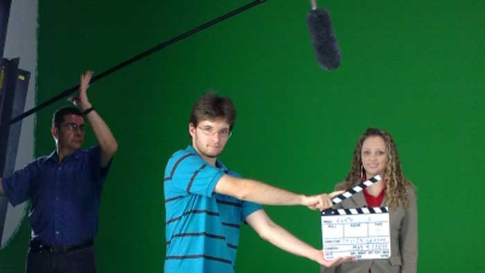 ACTION begins in the GREEN STUDIO for Chapeau INC a Canadien production company.
