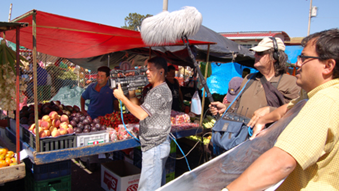 Shooting on location at the Guadalupe open food market for Los Angeles producers.