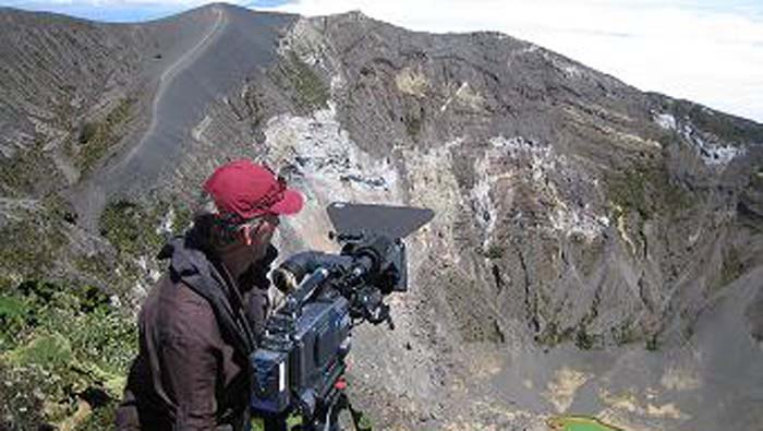 Shooting an European 60 minute documentary at Volcán Irazú National Park